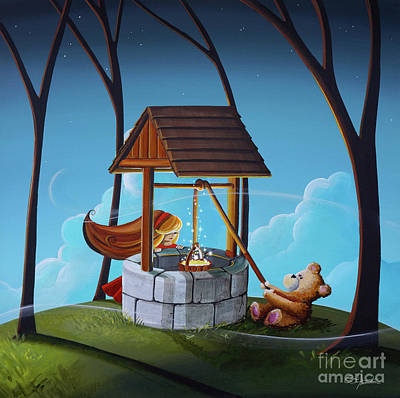 Teddybear Painting - The Wishing Well by Cindy Thornton