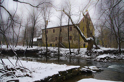 Mather Digital Art - The Wissahickon Creek And Mather Mill In The Snow by Bill Cannon
