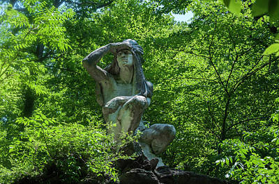Wissahickon Photograph - The Wissahickon Indian Statue In Fairmount Park by Bill Cannon