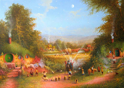 Painting - Fireworks In The Shire. by Joe Gilronan