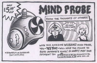 Letterpress Drawing - Wizbang Mind Probe by Hermit