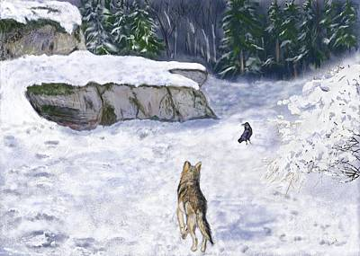 The Wolf And The Raven Art Print