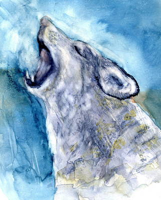 Painting - The Wolf Howls by Marilyn Barton