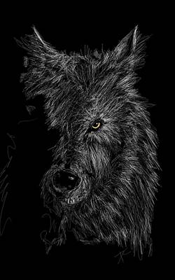 Digital Art - The Wolf In The Dark by Darren Cannell