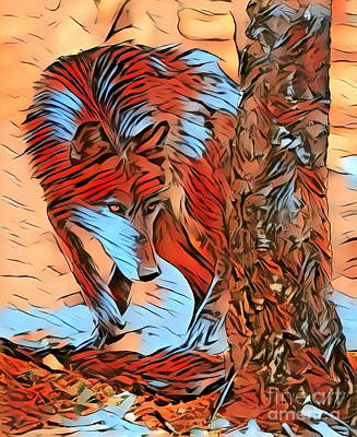 Yellowstone Digital Art - The Wolf In The Woods - Abstract by Scott D Van Osdol