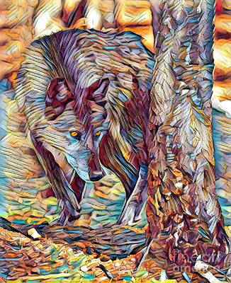 Yellowstone Digital Art - The Wolf In The Woods - Autumn Hunter by Scott D Van Osdol