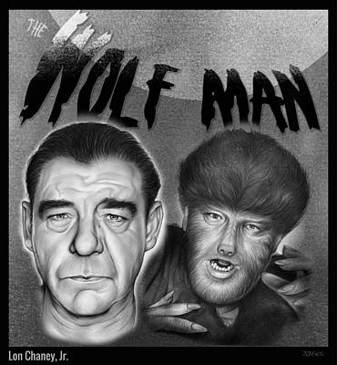 Wolf Drawing - The Wolf Man by Greg Joens
