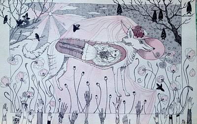 Red Poppies Drawing - The Wolf  by Simona Ton