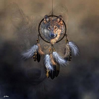 Native American Spirit Portrait Photograph -  Wolf Spirit Dream Catcher by G Berry