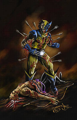 Xmen Painting - The Wolverine by Darren Jolly