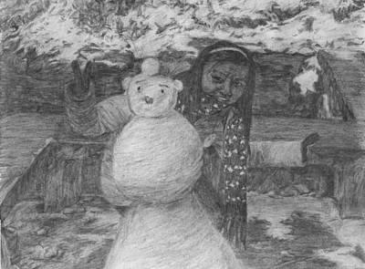 Drawing - The Woman Behind The Snowman by Sami Tiainen