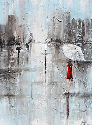 Abstract Skyline Rights Managed Images - The Woman in Red Royalty-Free Image by Christine Bell