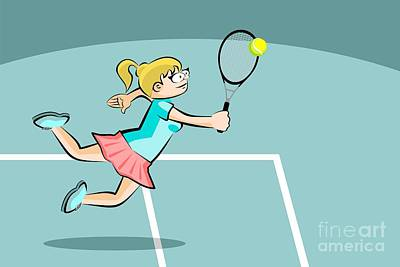 Tennis Digital Art - The Woman Jumps To Hit The Tennis Ball With Her Racket by Daniel Ghioldi