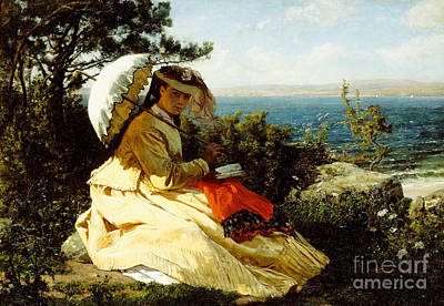 Breton Painting - The Woman With The Parasol by Jules Breton