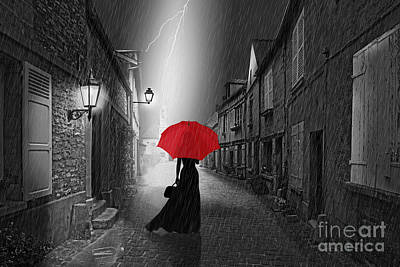 Colorkey Digital Art - The Woman With The Red Umbrella by Monika Juengling