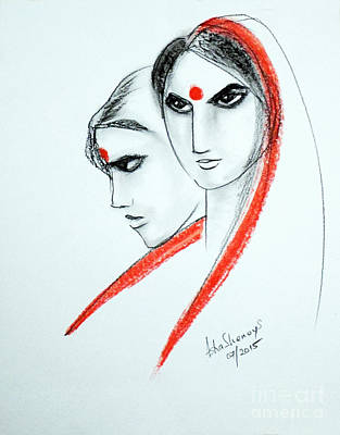 Painting - The Women by Asha Sudhaker Shenoy