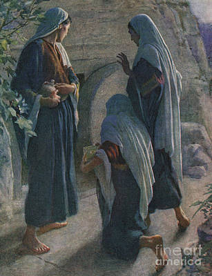 New Testament Drawing - The Women At The Sepulchre by Harold Copping