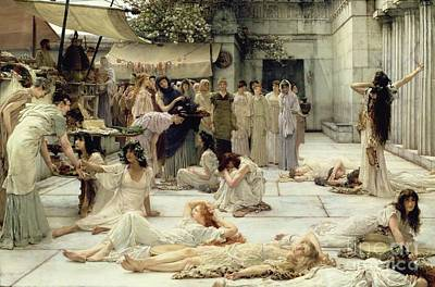Stalls Painting - The Women Of Amphissa by Sir Lawrence Alma-Tadema