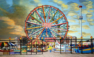 The Wonder Wheel  Art Print by Bonnie Siracusa