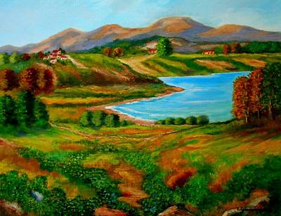 Painting - The Wonderful Lake Prespa In Greece by Konstantinos Charalampopoulos