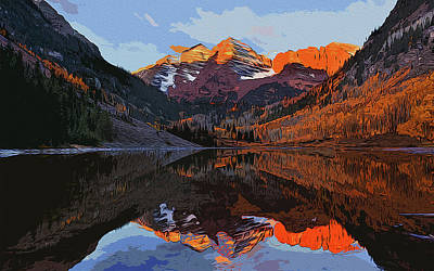 Painting - The Wonderful Maroon Bells  by Andrea Mazzocchetti