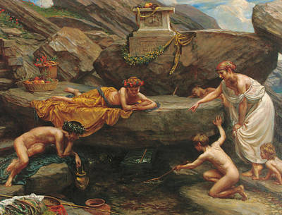Little People Painting - The Wonders Of The Deep    An Idyll  by Sir Edward John Poynter