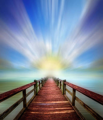 Photograph - The Wood Dock Dreamscape by Debra and Dave Vanderlaan