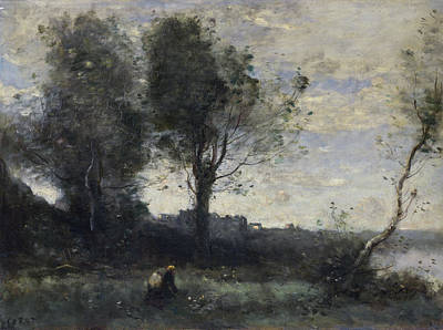 Rustic Realism Painting - The Wood Gatherer by Camille Corot