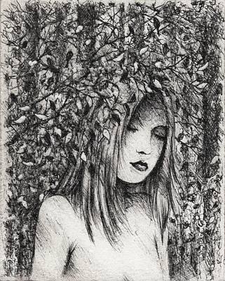 Rain Drawing - The Wood Nymph by Rachel Christine Nowicki