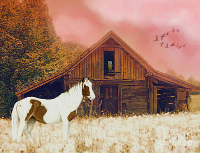 Shed Mixed Media - The Wood Shed by KaFra Art