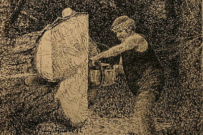 Drawing - The Woodcutter by Terry Perham