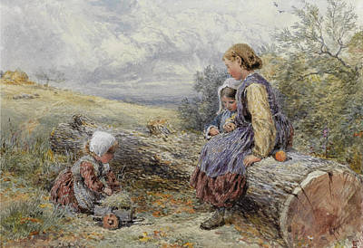 Drawing - The Woodcutter's Children by Myles Birket Foster