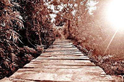 The Wooden Bridge Sepia Original by Sharmaigne Foja