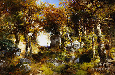 The Woodland Pool Art Print by Thomas Moran