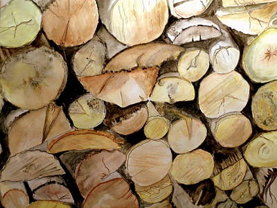 Woodpile Painting - The Woodpile by Carol Grimes