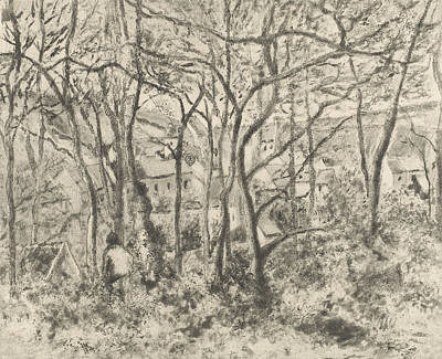Relief - The Woods At L'hermitage, Pontoise by Camille Pissarro