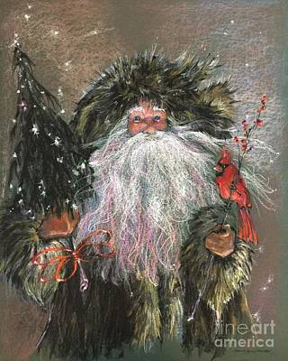 Woodsmen Painting - The Woodsman Santa by Shelley Schoenherr