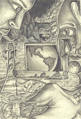 Drawing - The World Cries by Karen Musick