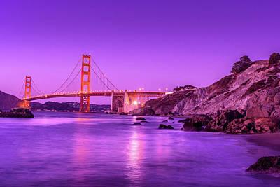 Photograph - Golden Gate Bridge At Night by Debbie Ann Powell