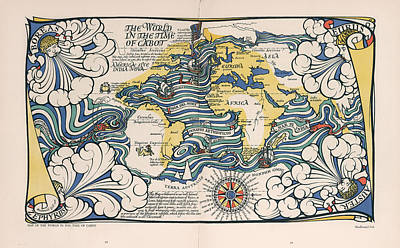 Drawings Royalty Free Images - The World in the Time of Cabot - Illustrated Map of the World - Antique Map Royalty-Free Image by Studio Grafiikka
