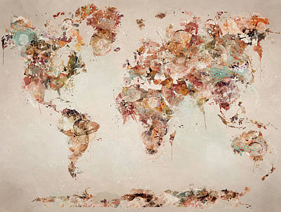 Painting - The World Map by Bri B