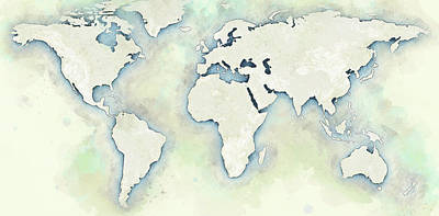 Watercolor Map Drawing - The World Map by Ingo Krasenbrink