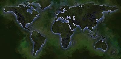 Ingo Art Wall Art - Drawing - The World Map -jungle by Ingo Krasenbrink