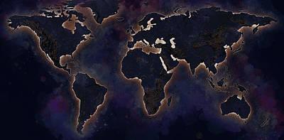 Ingo Art Wall Art - Painting - The World Map -night by Ingo Krasenbrink