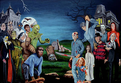 Painting - The World Of Classic Horror by Tony Banos