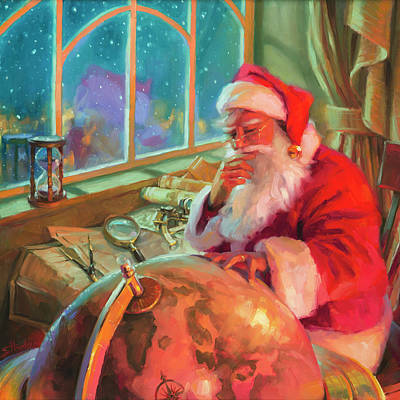 Santa Wall Art - Painting - The World Traveler by Steve Henderson