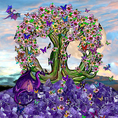 Mixed Media Royalty Free Images - The World Tree Spring Equinox Dragons Royalty-Free Image by Michele Avanti