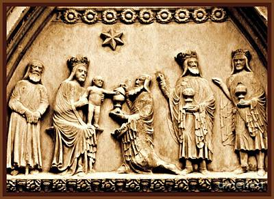 Jesus Christ Relief Photograph - The Worship Of The Magi 2 Card 1 by Sarah Loft