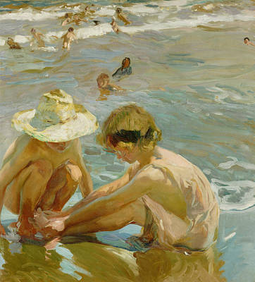 Water Play Painting - The Wounded Foot by Joaquin Sorolla y Bastida