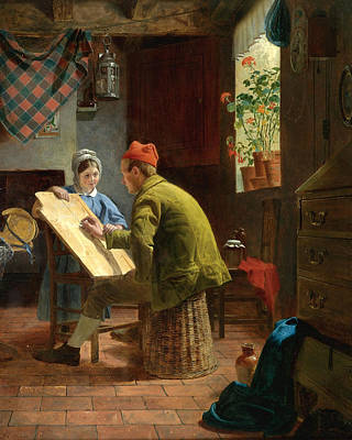 Painting - The Writing Lesson  by James Collinson